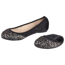 Ashley Ballerina Black Disco Glitter Gold