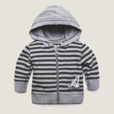 Cardigan with hood Grey Chine/Green