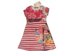 Desigual Girls Dress Almadense White/Fuchsia