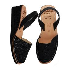 Low Wedge Avarcas Black Glitter