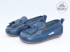 Miami Navy Fringe Front Leather Infant Loafer