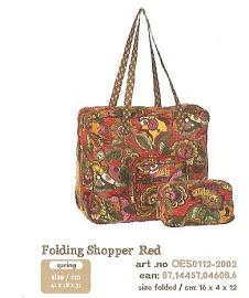 OES0112-2002 Folding Shopper Red