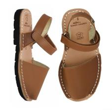 Palmairas Hook & Loop Sandal Tan Leather