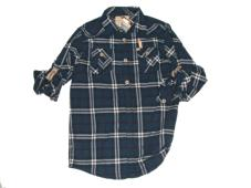 Shirt L/S Laudrys Navy Check 20523B