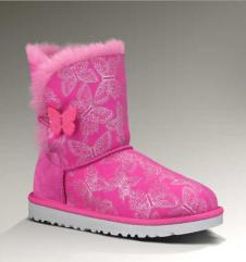 Toddler Bailey Button Butterfly UGG Boot:Raspberry Sorbet (Deckers)
