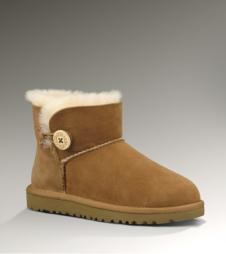 Toddler Mini Bailey Button UGG Boot:Chestnut