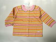 T-Shirt Button thru Stripe Yellow Cotton 16300376