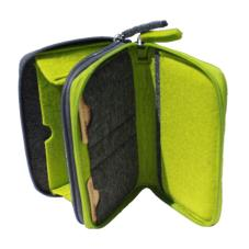 Twin Zip Travel Purse Felt Green UC008019